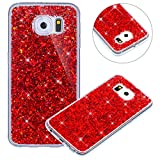 Coque pour Samsung Galaxy S6 Edge,Paillette Coque pour Galaxy S6 Edge,Surakey Bling Brillant Cristal Glitter Diamant strass Coque Silicone Étui Ultra Mince Housse pour Samsung Galaxy S6 Edge Coque de Protection en TPU avec Absorption de Choc Bumper et Anti-Scratch Etui Premium Semi Hybrid Crystal Clear Flex Soft Skin Souple Coque Etui en Silicone Téléphone Couverture TPU Cover Coque Housse Étui pour Samsung Galaxy S6 Edge - Rouge
