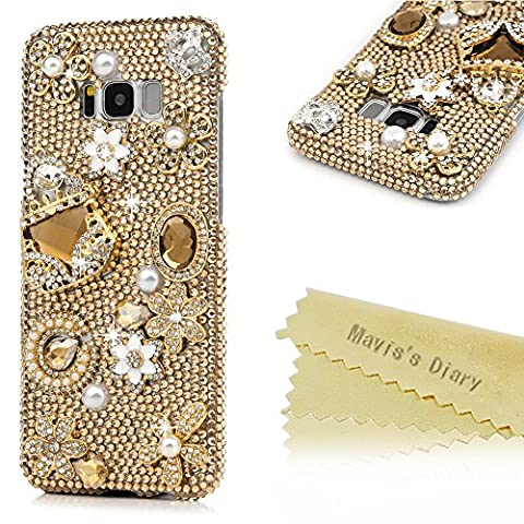 S8 Plus Case ,Galaxy S8 Plus Case - Mavis's Diary 3D Handmade Bling Golden Rhinestone Diamonds Luxury Crystal Handbag Diamonds Flowers Elegant Pearls [Full Edge Protection] Hard PC Transparent Cover for Samsung Galaxy S8
