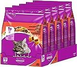 Whiskas Katzenfutter Trockenfutter Adult 1+ mit Rind, 5 Beutel (5 x 0,8 kg)
