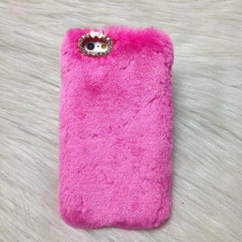Pour Coque iPhone 5/5s , iNenk® Rex Imitation laine chaude téléphone Shell mode luxe marée couverture Protection affaire manchon Bowknot pour femmes-Noir Rose rouge