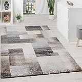 Paco Home Teppich Meliert Modern Webteppich Hochwertig Kariert Beige Creme Grau, Grösse:160x230 cm