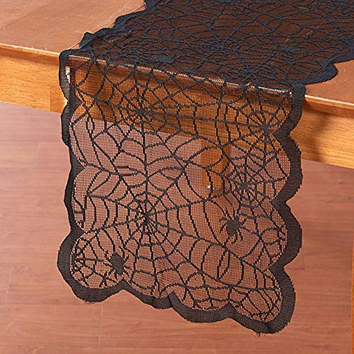 SONGHJ Halloween Spider Net Lace Tischdecke Kreative Lace Black Spider Decor Rechteck Tischfahne Tischabdeckung Decor B 33x183cm