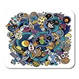 Mouse Pads Outer Alien Cartoon Doodles Space Colorful Detailed with Lots of Objects Cosmos Science Mouse Pad 7.08 (L)x 8.66 (W) inch for Notebooks,Desktop Computers Mouse Mats, Office Supplies