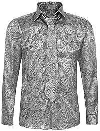 8164ec2c24c88 Conjunto de Corbata y Camiseta de Manga Larga para Hombre de algodón y satén