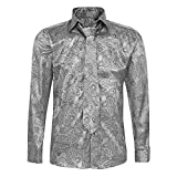 Robelli Herren Hemd & Krawatte Set aus langärmeligem Baumwoll-Satin Gr. L, Silver Paisley No. 11