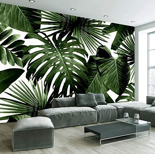 Fototapete Retro Tropischer Regen Wald Palm Banana Leaves 3D Fototapete Cafe Restaurant Theme Hotel Hintergrund Fresken, 250 × 175 cm
