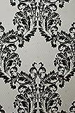 Vinyltapete Tapete Barock Retro # cremeweiß/schwarz # Fujia Decoration # 85782