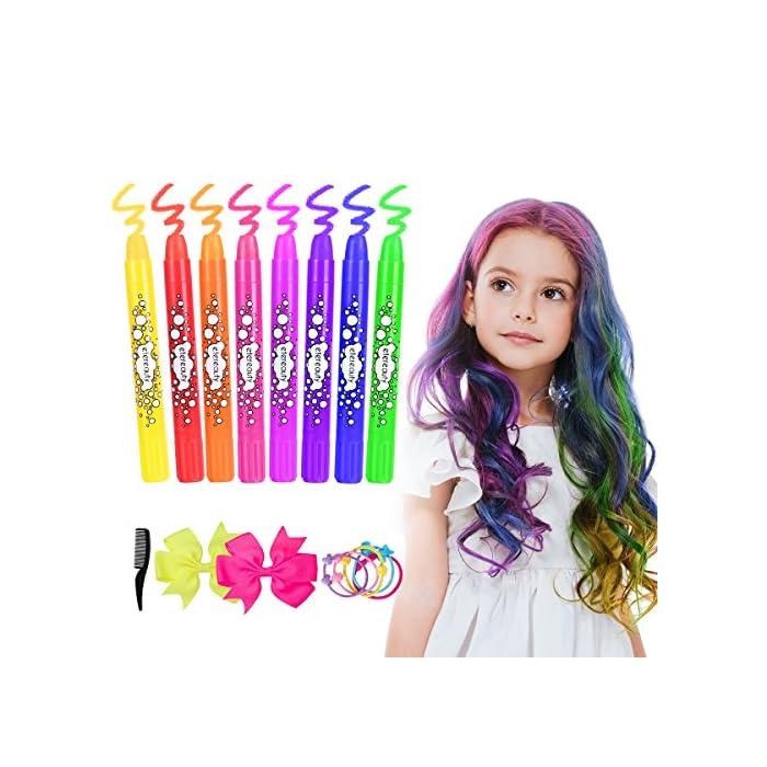 Haarkreide, ETEREAUTY 8 Farben Auswaschbar Haarkreide Temporäre Haarfarbe für Kinder Mädchen, Geschenke für Geburtstag…