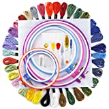 Biging Full Range of Embroidery Starter Kit Cross Stitch Tool Kit Including 5 Pieces Plastic Embroidery Hoops, 36Colour Threads, 46cm x 30cm 14 Count Classic Reserve Aida and Cross Stitch Tool Kit