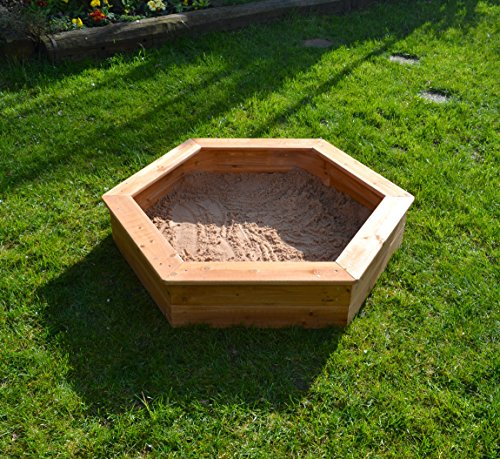 Garden-Games-6403-Wooden-Childrens-Hexagonal-Sandpit-with-Underlay-and-Sand-Pit-Cover-12-Metre