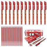 12 bolígrafos de tinta negra, roja, azul oscura o azul, borrable de 0,5 mm y 20 recambio de gel de bolígrafos, papelería escolar para escribir a mano de la marca Laconile, color rosso