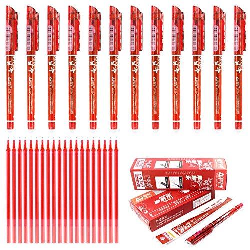 Laconile penne cancellabili con punta a pennino da 0,5 mm, 12 pezzi penne con rosso confezione da 20 ricariche per penne in gel, scrittura scorrevole, cancelleria per la scuola