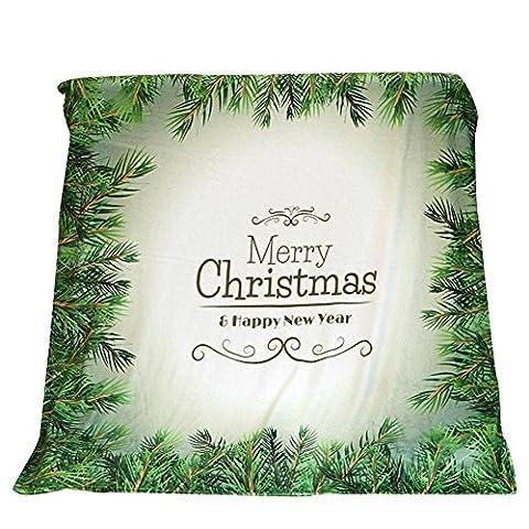Décorations de Noël,Fulltime®Couverture de Noël en tissu de flanelle de lit de sofa de couverture 130X150CM (G)