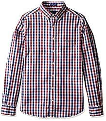 Gant Mens Multi Color Gingham Fitted Button Down Shirt, Mahogany Red, Small