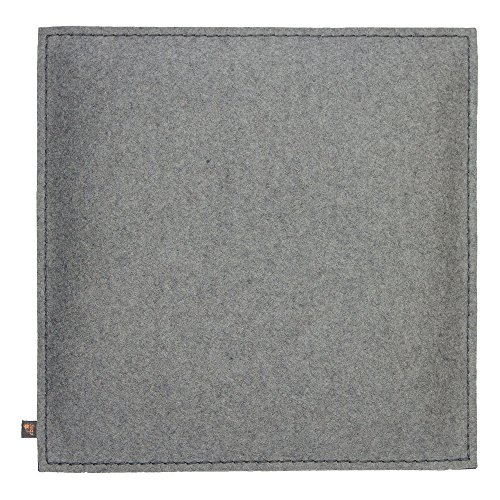 ebos Wollfilz Sitzkissen 4er-Set | 40x40cm, handgefertigt, 100% Wollfilz | Dünn & bequem | Hochwertiges Stuhlkissen, Sitzpolster mit Füllung | Schönes Stuhl-Polster, Filz-Kissen | Robustes Outdoor-Kissen, wasserabweisende Stuhl-Auflage (hellgrau)