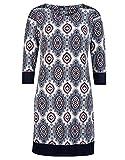 myOwn by Adler Mode Damen Kleid mit modischem Druck - Fummel, Robe, Abendkleid, Stoffkleid Marine/Blau/Weiß/Rot 38
