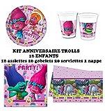 PARTY Set festa, compleanno Dreamworks Trolls 16 bambini (16 piatti, 16 bicchieri, 20 tovaglioli, 1 tovaglia) festa