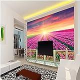 ShAH Große Benutzerdefinierte Hintergrundbilder Ästhetische Balkon Blumen 3D Wohnzimmer Tv-Kulisse 3D 3D Tapete Hintergrundbild Wallpaper Wandmalerei Fresko Mural 150cmX100cm