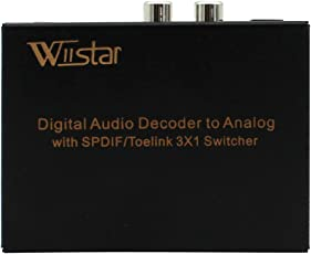 Digital Optical Audio Switch 3x1 Toslink 3 In 1 Out with Analog RCA and 3.5mm Headphone Output