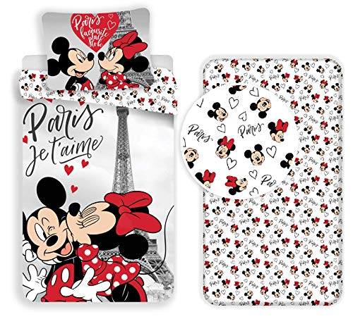 LTP Minnie y Mickey Mouse Paris 3Piezas Juego de Cama Individual de Funda nórdica + Funda de Almohada...