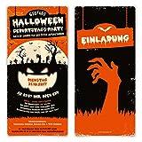 50 x Halloween Einladungskarten Kostüm Party Geburtstag Einladung 31.10. - Zombie Kürbis