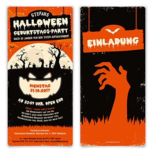 30 x Halloween Einladungskarten Kostüm Party Geburtstag Einladung 31.10. - Zombie Kürbis (Individuelle Halloween Kostüme)