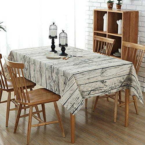 Tovaglia antimacchia, rettangolare vintage chic stile tovaglie da tavolo cotone lino per cena picnic e décor(140x200 cm)