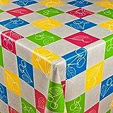 1buy3 Wachstuch | Viele Farben, Muster und Längen | Tischdecke Biertischdecke mit Fleecerücken (Bunte Kirschen 1, 150cm x 140cm)