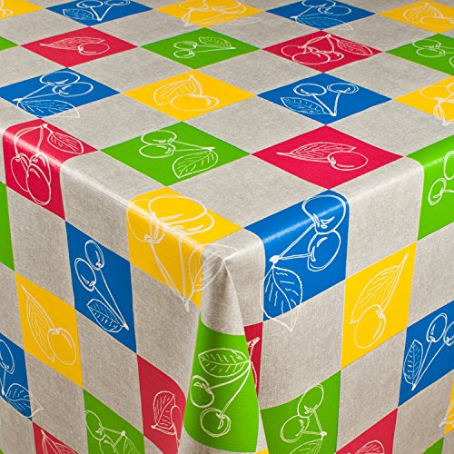 1buy3 Wachstuch | Viele Farben, Muster und Längen | Tischdecke Biertischdecke mit Fleecerücken...