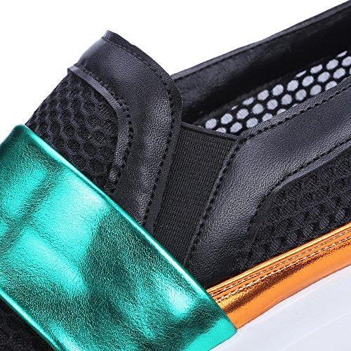 VogueZone009 Femme Couleurs Mélangées Pu Cuir à Talon Bas Rond Tire Chaussures Légeres Vert