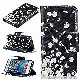 Yiizy Apple IPhone 5s Se Coque Etui, Blanc Fleur De Fluttering Design Flip PU Cuir...