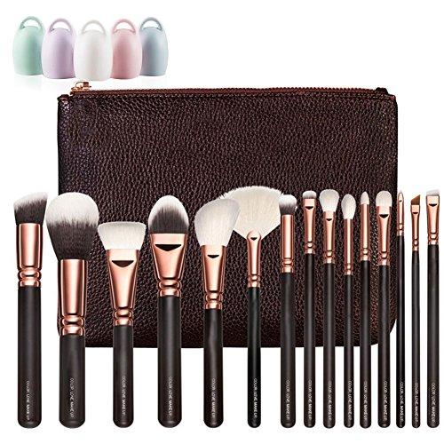 Storage Shed Kit (Woolala Professional 15Pcs Make-up Bürsten, Weich Gesicht Kosmetik Bürsten Stiftung Erröten Puder Bürsten mit Tasche + 1 Bürste Ei, 15pcs)