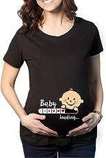 YaYa cafe Women's Cotton Maternity Round Neck Half Sleeves T-Shirt
