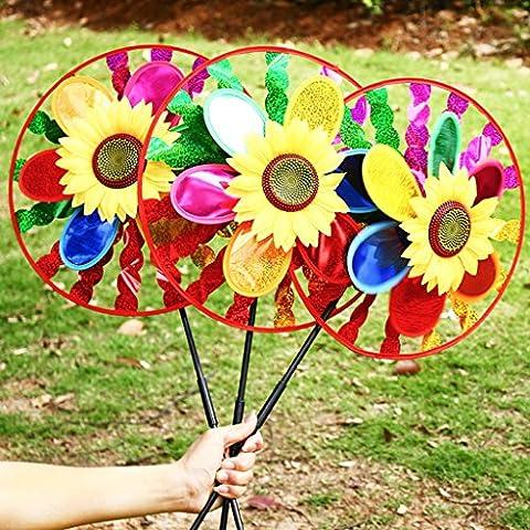 Dairyshop Colorful Sunflower Windmill Wind Spinner Home Garden Yard Decoration Kids Toy 1 PC