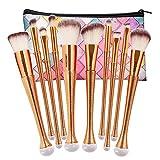 NEEDOON 10 Stücke Makeup Pinsel Set Pulver Foundation Eyeliner Augenpinsel Lidschatten Gesichtspinsel Blush Pinsel mit Kosmetik Tasche,D