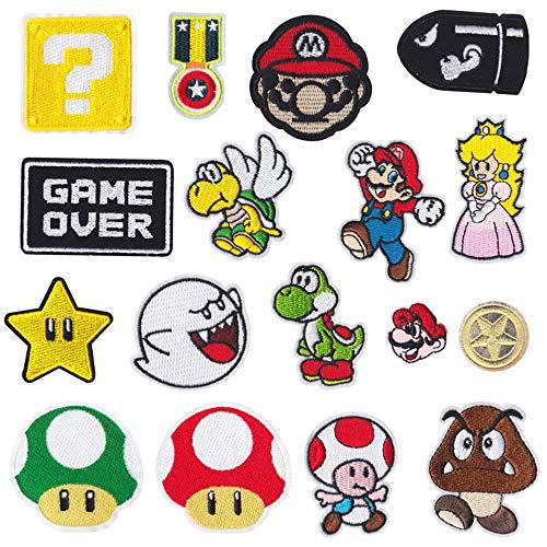 17 piezas Parches planchado videojuegos Super Mario