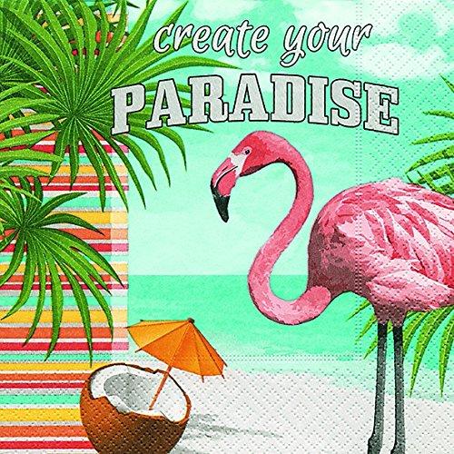 20 Servietten Flamingo im Paradies / Tiere / Urlaub / Sommer 33x33cm -