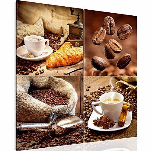 Bilder – Wandbild - Vlies Leinwand - 60 x 60 cm - Kaffee Bild - Kunstdrucke – mehrere Farben und Größen im Shop - Fertig Aufgespannt - Coffee – Cafe 504144a