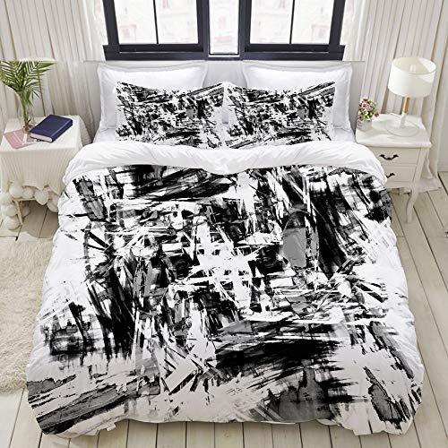 TARTINY Bettwäsche-Set Motiv, schwarz-weißer Hintergrund mit Totenköpfen, 3-teiliges Bettwäsche-Set mit 2 Kissenbezügen, insgesamt 3 Größen, Color9, Kingsize (Schwarz Kingsize-bettdecke California)