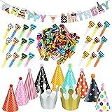 BETESSIN 100pcs Matasuegras Fiestas + 11pcs Gorros Fiesta Sombrero Forma Cónica + Bandera Cumpleaños Bunting Banner Happy Birthday Accesorios Cumpleaños Fiestas Carnaval Favor