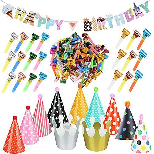 1 Pcs Girlande Happy Birthday Banner Dekoration 100 Pcs Luftrüssel Lufttröte Pfeife 11 Stück Partyhüte Party Kegel Hüte Kinder Geburtstag Kronen Kinder Geburtstagparty Zuhör Spiele Partyartikel Set (Elf Hut Kinder Für)