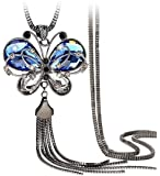 Shining Diva Fashion Jewellery Butterfly Pendent for Girls with Long Chain Pendant Party Stylish Necklace for Women…