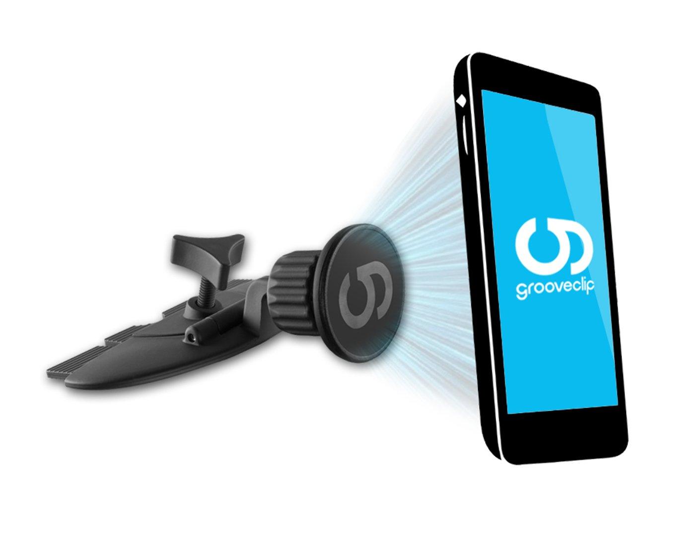 grooveclip-CD2-Magnet-KFZ-Halterung-fr-den-CD-Schlitz-Handyhalterung-mit-Quick-Snap-Magnet-System-passt-in-jeden-gewhnlichen-Auto-CD-Player-universell-fr-Apple-iPhone-Samsung-Navi-UVM