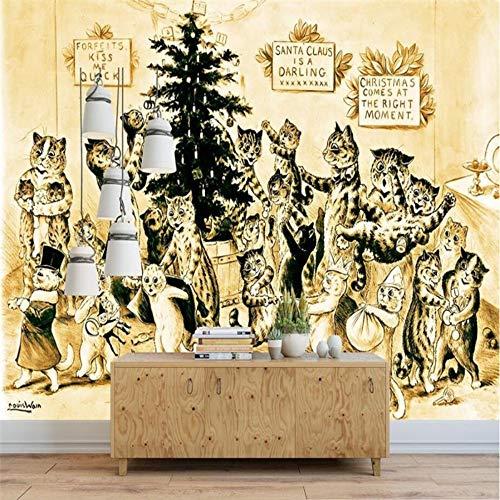 Sfondi personalizzati 3d dipinto a mano gatto retrò linea gialla decorazione murale su fondo, 350 × 245cm