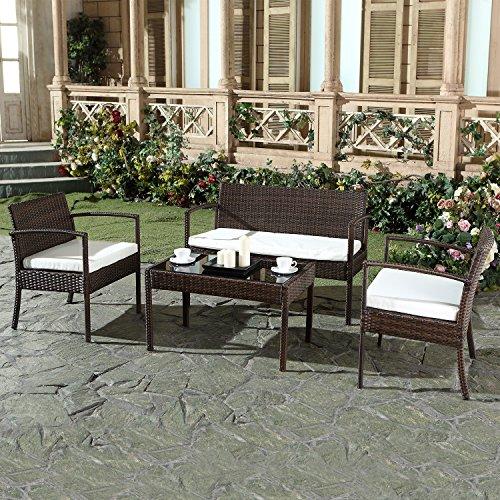 Mon Usine 8826 el Graciosa salón de jardín de Resina Trenzada Chocolate (4  plazas marrón 108 x 60 x 71 cm)