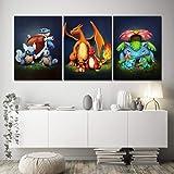 XIAOJIE0104 Toile Peinture Imprimé Décoration de La Maison 3 Pcs Pokemon Poche Monstre Anime Oeuvre Murale Modulaire Photos A