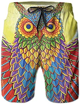 Illusions of The Rainbow Owl Men's/Boys Casual Quick-Drying Bath Suits Elastic Waist Beach Pants with Pockets