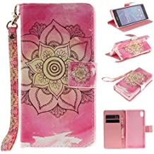 Qiaogle Teléfono Case - Funda de PU Cuero Billetera Clamshell Carcasa Cover para Sony Xperia Z2 (5.2 Pulgadas) - TX40 / Rojo Mandala