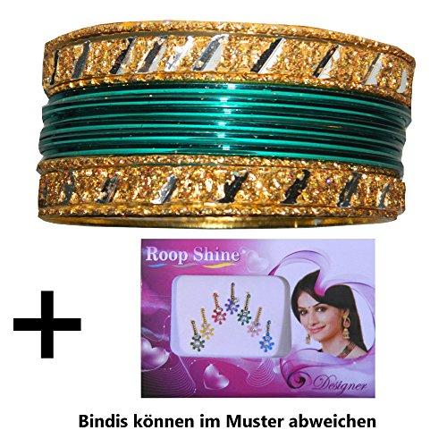Braccialetti Indiani Churian 12 verde e oro Bindi Bollywood Sari