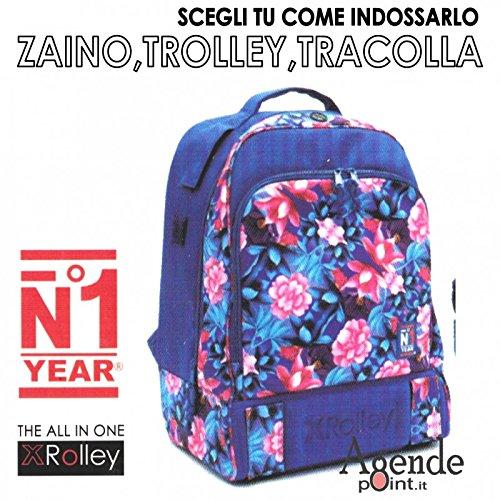 Zaino XROLLEY 3 in 1 trolley zaino e tracolla con multitasche fantasia fiori